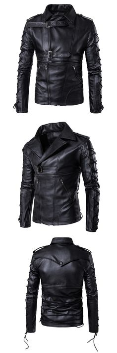 2017 new high-end men's motorcycle leather padded warm leather jacket black large size leather jacket