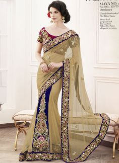 Diwali and Navratri Special Trendy Hand Worked Net Velvet Saree 6418