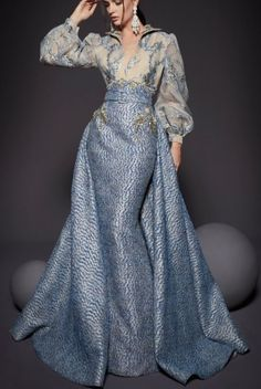Fouad Sarkis Couture Silver Blue Long Blouson Long Sleeve Gown Dress | Poshare