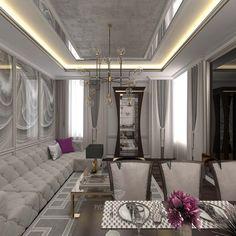 Этот интертьер представляет собой элегантную смесь классики, арт-деко и современного стиля. Полуколонны с пилястрами в отделке светлой кухни, фасады в стиле легкая классика прекрасно соседствуют с яркими барными стульями в стиле ар-деко.