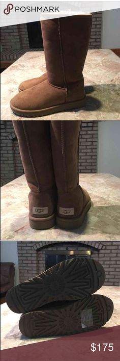 UGG Classic Tall Chestnut Boots UGG Classic Tall Boots size 8. 💯 authentic, box has been damaged but the shoes are BRAND NEW! :) color chestnut UGG Shoes Winter & Rain Boots