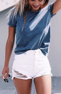 #summer #outfits  Grey Tee + White Ripped Denim Short