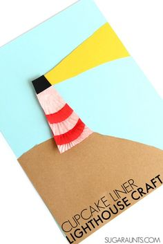 Lighthouse craft with cupcake liners. This is perfect to make before going on vacation to the beach with kids this summer!