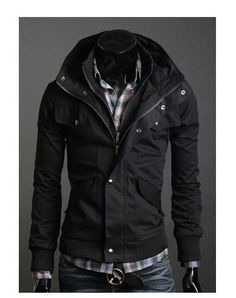 $39.65 - Mens Jackets Long Sleeve Zipper Cotton Solid Stand Collar Short Men Jacket  Discount Online Shopping