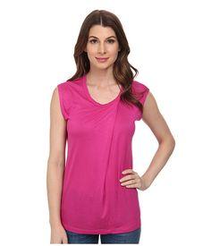 Anne Klein Anne Klein  Aysmmetric Short Sleeve Top Fuchsia Womens Clothing for 20.99 at Im in!