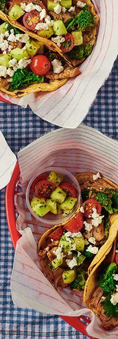 Greek Chicken Fajitas with Broccoli Rabe
