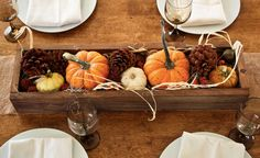 fill this rustic centerpiece box with pumpkins and pinecones to create a thanksgiving centerpiece. Order yours now