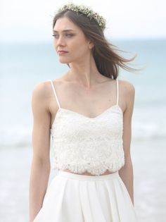 Boho Lace Crop Top and Podanch Pleated Skirt with Pockets by Motil Bespoke Bridal (Image: Ella Uzan) | Beach Wedding Dresses from Etsy