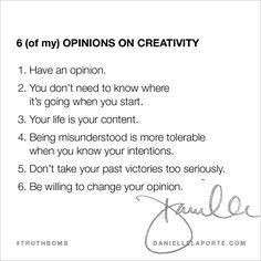 OPINIONS ON CREATIVITY