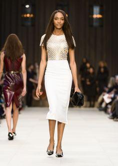 Jourdan Dunn wearing a studded t-shirt dress on the Burberry A/W13 Womenswear runway