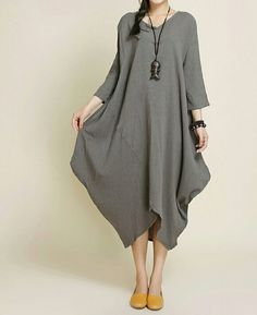 Women Hooded Maxi dress, long sleeved dress, Loose bottoming dress in yellow, red, Loose pullover dress Women loose fitting asymmetry robe by MaLieb on Etsy Linen Dresses, Dresses With Sleeves, Look Fashion, Womens Fashion, Fashion Design, Outfit Trends, Outfit Ideas, Moda Plus Size, Mode Style