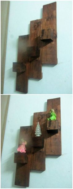 This wall shelf idea of the wood pallet is quite a lot cute and pleasantly designed which you can prominently make it hang on top of the wall by putting together the adornment of the decoration accessories. See how it looks!