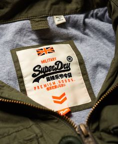 Shop Superdry Mens Rookie Service Parka Jacket in Fury Green. Buy now with free delivery from the Official Superdry Store. Cargo Shirts, Shirt Label, Fabric Labels, Boutique Logo, Clothing Labels, Printing Labels, Label Design, Fashion Branding, Superdry