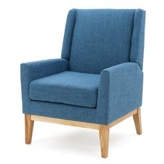 Simple design meets mid-century style to give this polyester-blend upholstered arm chair a look that elevates any space. Its streamlined silhouette blends effortlessly into any casual aesthetic, while its wingback design adds visual appeal to your favorite seating group. Play up this piece's mod inspirations by adding it to a living room seating group comprised of a barrel settee and clean-lined sofa for a casual and cohesive look, then accent it with burlap pillows for a pop of country f...