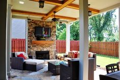 Smyrna - Outdoor Living Room and Fireplace - traditional - patio - atlanta - by Black Dawg Construction, LLC