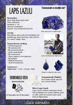 Lapis lazuli - Gaia sieraden Minerals And Gemstones, Crystals Minerals, Stones And Crystals, Crystal Shop, Crystal Magic, Lapis Lazuli Meaning, What Are Crystals, Crystal Meanings, Book Of Shadows