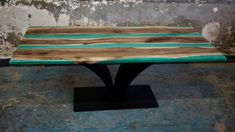 walnut, resin, green pigment, steel 200 cm/90/cm/78 cm Product Design, Resin, Tables, Dining Table, Steel, Living Room, Furniture, Home Decor, Green