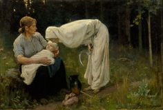 """""""Nāve"""" (""""Death"""") by Latvian painter Janis Rozentāls (1897) - Death depicted as female in white."""