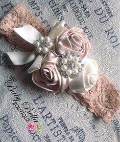 Baby girl headband, lace nude tan headband, rosette headband
