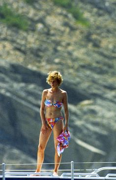 1988-08-15 Diana on the Yacht Fortuna, moored at the Isla De Cabrera, Spain