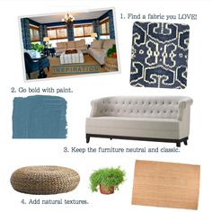 ATLS Design. Family Room step by step!  Deep blue walls, ikat curtains, affordable and stylish sofa, natural fiber rub and accessories.