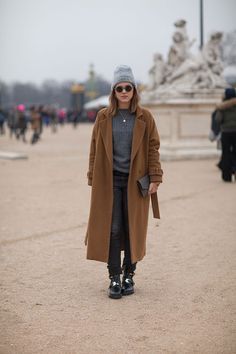 A camel coat with grey is always right. Paris Street Style Fall 2013 - Paris Fashion Week Style Fall 2013 - Harper's BAZAAR