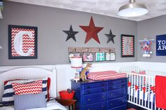 Trendy Kids Room Ideas For Boys Toddler Bedrooms Apartment Therapy Ideas Blue Room Decor, Blue Rooms, Bedroom Red, Boys Bedroom Decor, Boy Toddler Bedroom, Boy Room, Americana Bedroom, Shared Boys Rooms, Kids Rooms