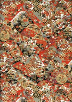 musoriental Japanese Yuzen Chiyogami Washi Paper (Traditional Design A top quality sheet of beautiful Chiyogami Paper, ideal for invitations and: Japanese Quilt Patterns, Japanese Quilts, Japanese Paper, Washi, Impression Textile, Origami, Japanese Flowers, Japanese Design, Japanese Style