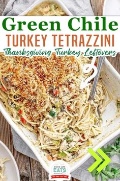 Green Chile Turkey Tetrazzini takes this traditional Thanksgiving turkey leftover recipe to the next level. This turkey casserole is loaded with flavor thanks to the addition of green chiles, poblano peppers, and spicy pepper jack cheese. You'll want to check this recipe out if you're looking for leftover turkey recipe ideas! No one will be bored with leftover turkey this year! | Good Life Eats @goodlifeeats #thanksivingleftoverrecipes #spicyturkeytetrazzini #turkeytetrazzini #goodlifeeats Healthy Thanksgiving Recipes, Fall Recipes, Thanksgiving Turkey, Holiday Recipes, Leftover Turkey Recipes, Leftovers Recipes, Spicy Recipes, Mexican Food Recipes, Chicken Recipes
