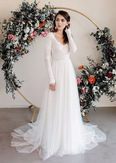 Bringing together beautiful fabrics and romantic bohemian wedding dress styles to create exceptional organic bridal fashion for the free-spirited woman. Indie Wedding Dress, Wedding Gowns, Bridal Gowns, Head To Toe, Camilla Dress, Swatch, Tulle Skirts, Long Sleeve Wedding, Chiffon Skirt