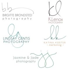 I love that these logos a created from handwritten script. It gives the logos a more personal feel, allowing them to be more light-hearted, friendly, and inviting. Logo Inspiration, Photography Branding, Photography Business, Business Names, Business Logo, Lettering, Typography Design, Logo Branding, Branding Design