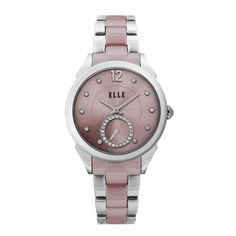 ELLE TIME Watch featuring Stainless Steel Case, Sunray Crystal Pink Dial & Steel Band