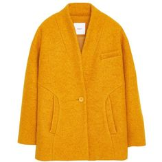 Mango Boucle Wool Blend Cocoon Coat, Medium Yellow (£28) ❤ liked on Polyvore featuring outerwear, coats, jackets, coats & jackets, long oversized coat, boucle coat, wool blend coat, short sleeve coat and yellow coat