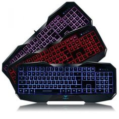 HIGHOT Alua Befire 3 Colors LED Backlight Backlit Multimedia Gaming Keyboard Illuminated Ergonomic Wired USB Keyboard -- You can get additional details at the image link. Gaming Computer, Laptop Computers, Computer Keyboard, Led Backlight, Usb, Computer Accessories, Multimedia, Red And Blue, Electronics