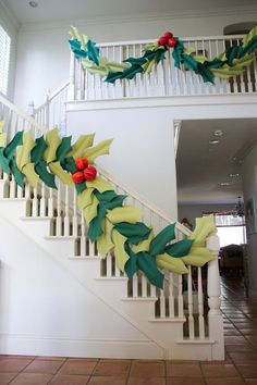Oversized holly & berry paper garland