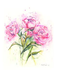 Peonies   Watercolor flower print  floral by MilkandHoneybread