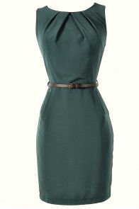 Belted Hunter Green Classic Sheath Dress - lots of cute, cheap dresses on this site. Short Dresses, Dresses For Work, Cheap Dresses, Prom Dresses, Dress Skirt, Dress Up, Celebrity Outfits, Celebrity Clothing, Retro Mode