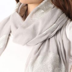 Ladies' Light Grey scarf with richly embroidered feather, by Style Slice, embodies an ornate feather pattern in silver thread. Elegant spring or summer shawl that can be personalised with a charm or a monogram. Suitable as a gift for anniversary, birthday or any day in which to tell the woman in your life, be it a Mum, WIfe, Sister or Girlfriend, that she is special. #scarf #shawl #wrap #scarves #fashion #vintage #handmade #acessories #etsy #gift #feathers #flower #headwrap #ootd…