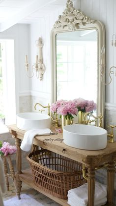 Elegant French cottage bathroom renovation peek & why I am in love already - FRENCH COUNTRY COTTAGE