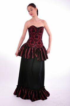 Schwarz Rotes Korsett Barock Gothic Burlesque von Mademoiselle Opossum auf DaWanda.com