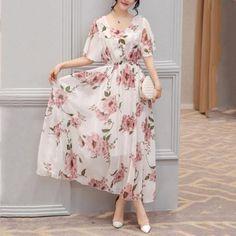 #Valentines #AdoreWe #Popreal - #Popreal Chic Round Neck  Floral Printed  Chiffon Maxi Dress - AdoreWe.com