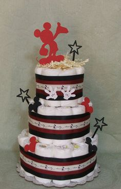 3 Tier Diaper Cake Walt Disney Mickey Mouse Baby Shower Boy or Girl | eBay