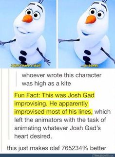 Josh Gad; improvising; Frozen; tumblr