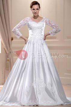 豪華なAラインストラップレス床長さチャペルアップリケウェディングドレス