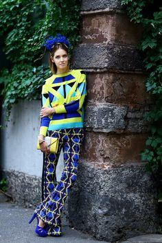 geometric print sweater with geometric print pants