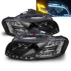 06-08 Audi A4/S4 LED Strip Projector Headlights + Amber LED Signal - Black
