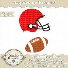 Capacete e Bola Futebol Americano, Silhouette, Studio Ilustrado, Corte Regular…