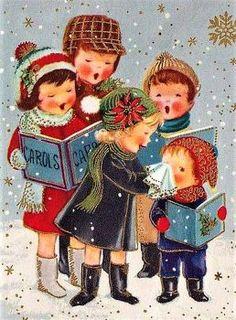 Christmas-carols vintage card (70 pieces)