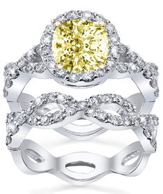 Fancy yellow diamond engagement ring with matching wedding band. Simply stunning!!!! Yellow diamonds are always so eye catching!