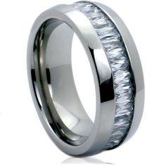 Emerald CZ Titanium Ring 8mm